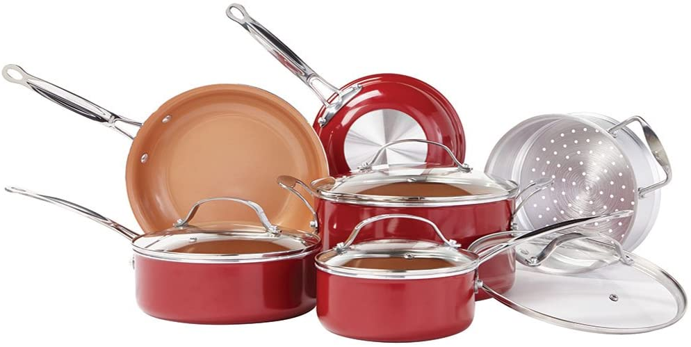 BulbHead 10824 Red Copper Non-Stick Induction Cookware Set