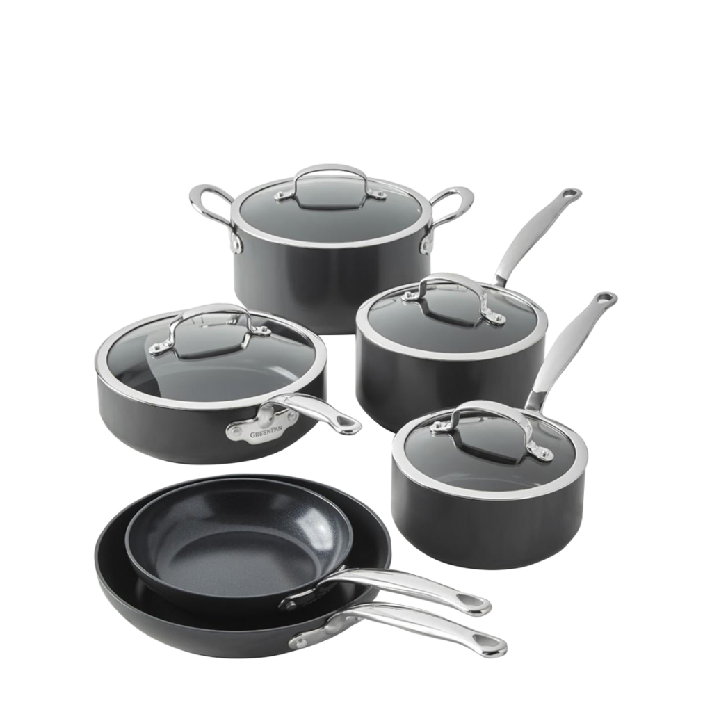 Best Overall Ceramic Cookware Set: GreenLife Soft Grip Healthy Ceramic Nonstick, Cookware Pots and Pans Set
