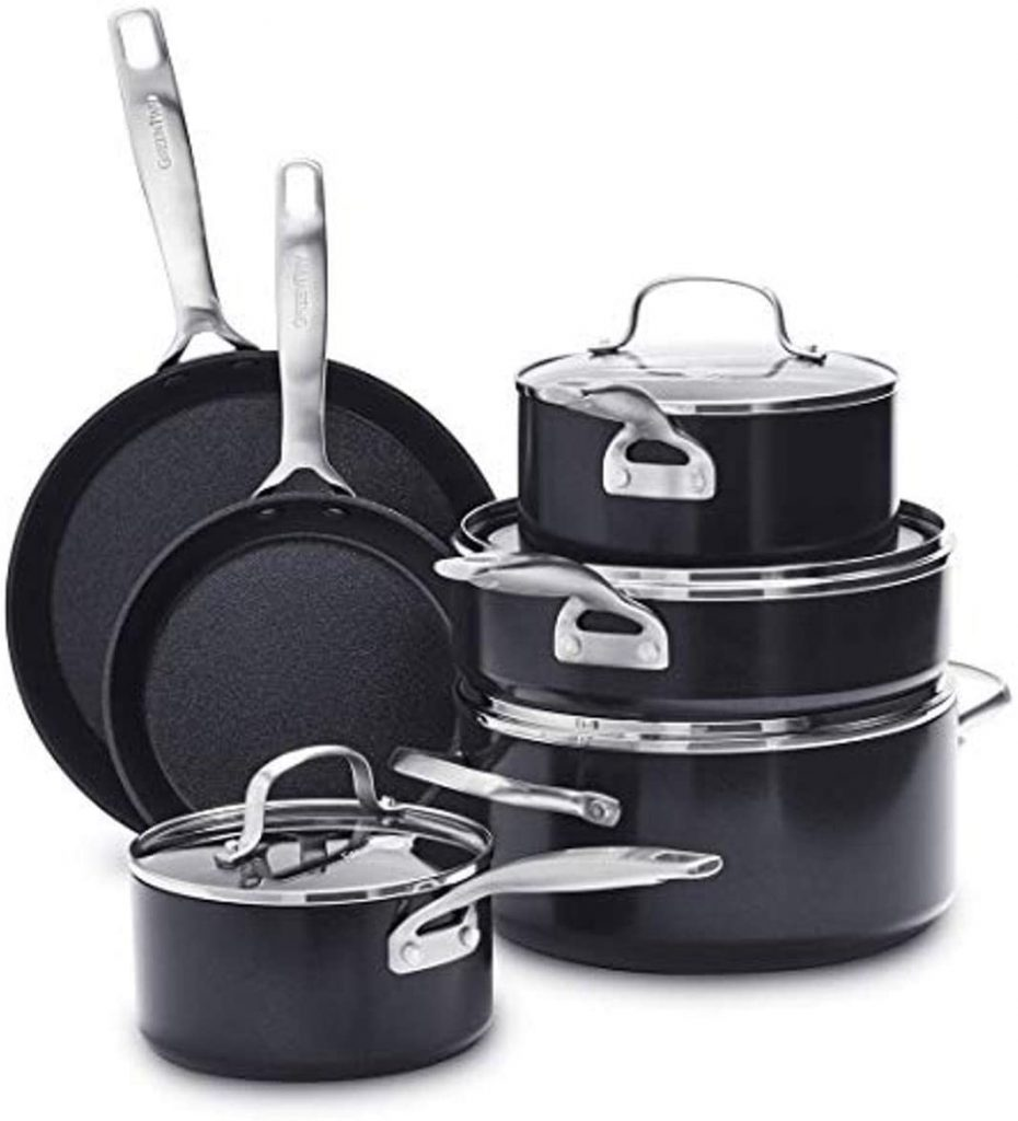 Best Ceramic Cookware Set for High Heat and Oven Use: GreenPan SearSmart Ceramic Nonstick 10-Piece Cookware Set