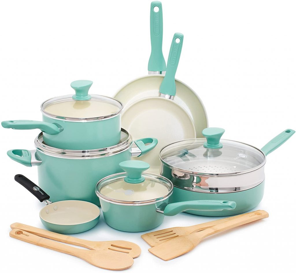 Most Stylish Ceramic Cookware Set: GreenPan Rio Healthy Ceramic Nonstick, Cookware Pots and Pans Set